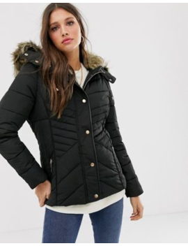 New Look Fitted Puffer Jacket In Black by New Look