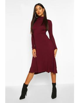 Roll Neck Long Sleeve Midi Skater Dress by Boohoo
