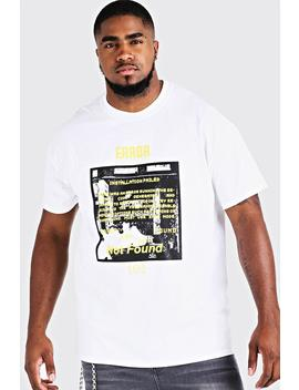 Big And Tall Error 101 Printed T Shirt by Boohoo