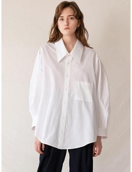 Oversized Deep Neck Shirt White by Kindersalmon
