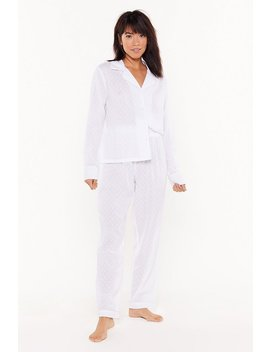 Too Late To Texture Button Down Pyjama Set by Nasty Gal