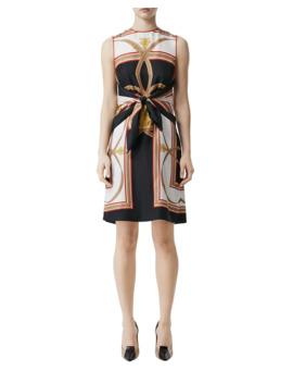 Scarf Print Silk Tie Waist Dress by Burberry