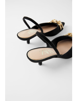 Slingback Kitten Heel Shoes With Metal Detail New Inwoman by Zara