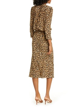 Arielle Leopard Print Stretch Silk Midi Dress by Veronica Beard