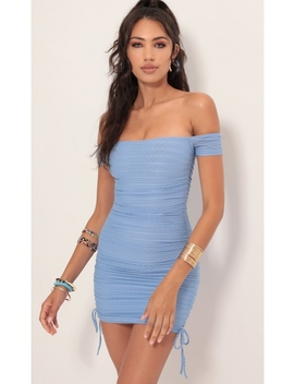 Aria Mesh Striped Dress In Blue by Lucy In The Sky