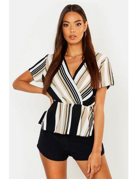 Stripe Wrap Front Peplum Blouse by Boohoo