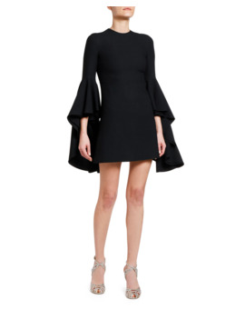3/4 Sleeve Flounce Bell Sleeve Dress by Giambattista Valli