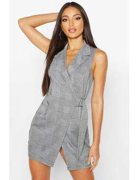Check Sleeveless Wrap Blazer Dress by Boohoo