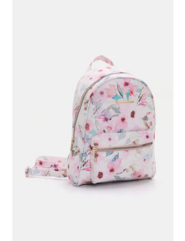 Floral Faux Leather Backpack by Ardene