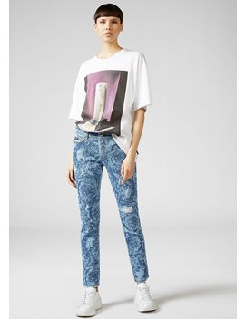 Baroque Print Jeans by Versace