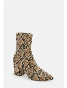 Nude Snake Print Pointed Toe Mid Heel Sock Boots by Missguided