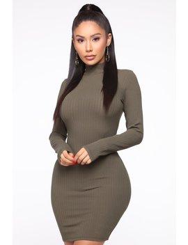 Got Me Covered Ribbed Mini Dress   Olive by Fashion Nova