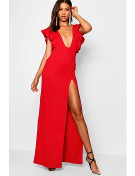 Tall Ruffle Plunge Split Leg Maxi Dress by Boohoo