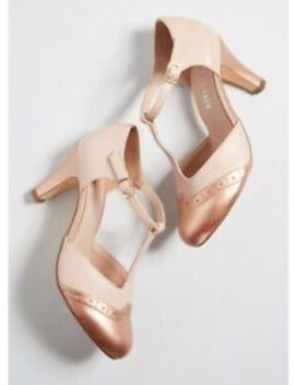 Mod Cloth Vintage Inspired Chelsea Crew Rose Gold Mary Jane Heels Size 37/7 by Mod Cloth