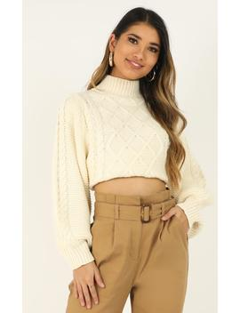 Creating Tension Knit Jumper In Cream by Showpo Fashion