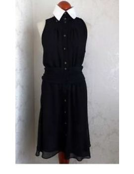 Karl Lagerfeld Dress Black Ivory Pan Fit Flare Rhinestone Button Ruffle Pinup by Karl Lagerfeld