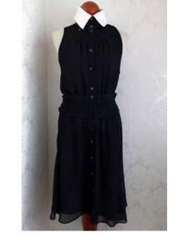 Karl Lagerfeld Dress Black Ivory Pan Fit Flare Rhinestone Button Ruffle Pinup by Karl Lagerfeld