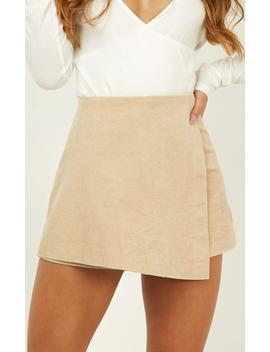 Will You Feel The Same Skort In Beige Cord by Showpo Fashion