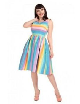 New With Tags Collectif X Modcloth Candice Candy Stripe Swing Dress Size Uk 14 by Collectif X Modcloth