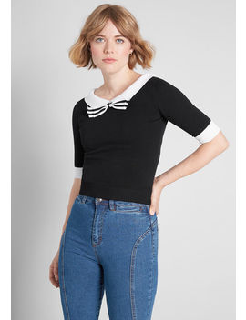 Mod Cloth X Collectif Bow Tied Beauty Pullover Sweater by Collectif