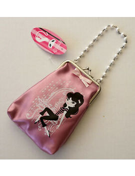 """New   French Kitty Coin Bag Rare Vintage Pink Metallic Size 4"""" X 6"""" by Mightyfine"""
