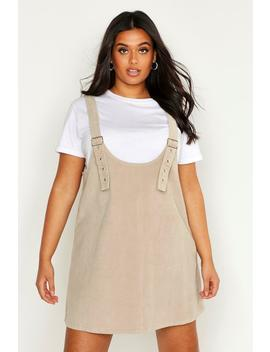 Plus Buckle Front Pinafore Dress by Boohoo