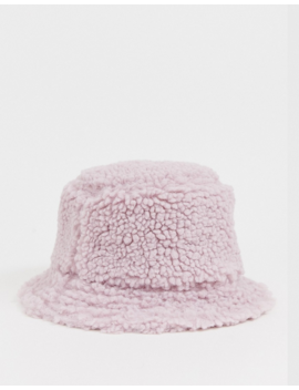 Asos Design Borg Bucket Hat In Lilac by Asos Design