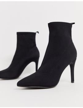 Glamorous Black Stiletto Heel Sock Boots by Glamorous