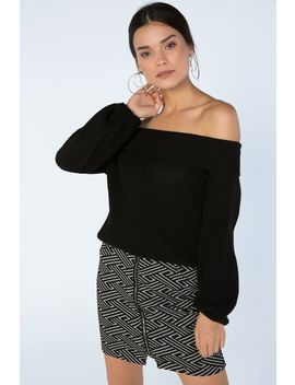 Black Volume Sleeve Slouchy Bardot Jumper by Select