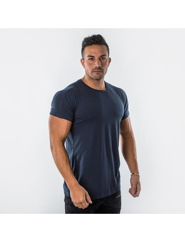 Alphalete Muscle Rolled Tee, Navy (Large) by Alphalete