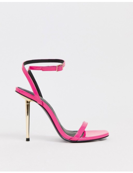 Asos Design Nation Metal Heel Barely There Heeled Sandals In Pink by Asos Design