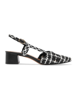 Campo Amor Houndstooth Woven Leather Slingback Pumps by Souliers Martinez