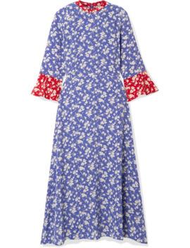 Ashley Floral Print Silk Crepe De Chine Midi Dress by Hvn