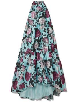 Belita Asymmetric Ruffled Floral Print Gazar Midi Dress by Erdem