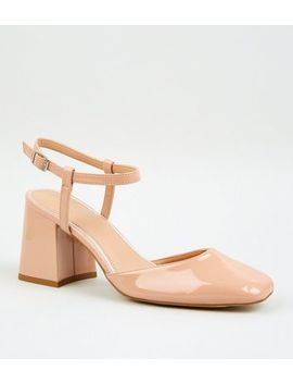 Nude Patent Flare Heel Court Shoes by New Look