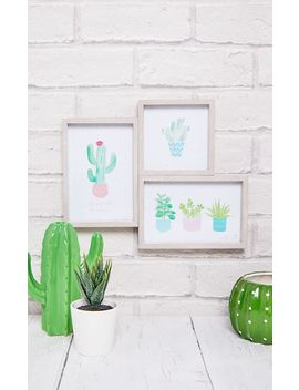 Three Pastel Cactus Wooden Multi Photo Frame by Prettylittlething