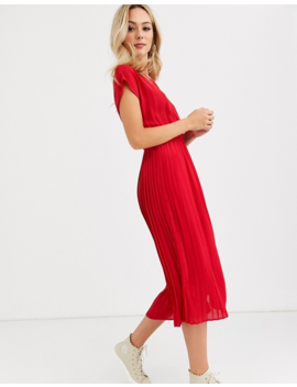 New Look – Plissiertes Midikleid In Rot by Asos