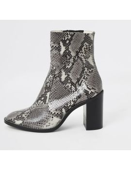 Grey Snake Print Leather Heel Sock Boots by River Island