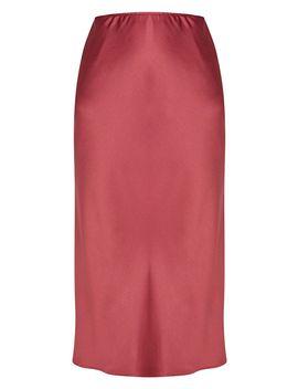 Burgundy Satin Midi Skirt  by Prettylittlething