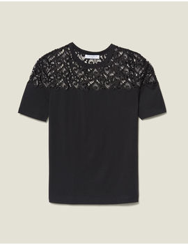 T Shirt With Guipure Insert by Sandro Paris