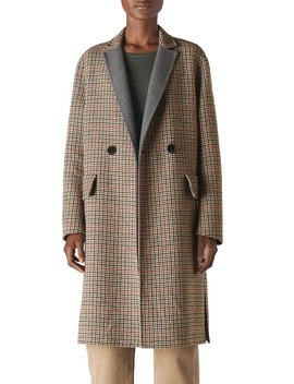 Check Double Face Wool Blend Coat by Whistles