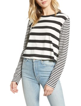 Cody Stripe Crop Long Sleeve Tee by Splendid