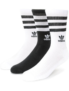 Adidas Roller Black & White 3 Pack Crew Socks by Adidas