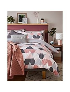 Pink Marble Effect Geometric Shapes Easy Care Duvet Set by Asda