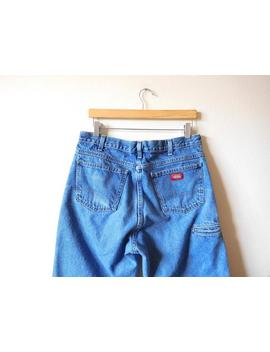 Waist 34 Dickies V Intage 1990s 90s High Waisted High Rise Distressed Whiskering Wide Leg Classic Iconic Denim Worker Short Ankle by Etsy