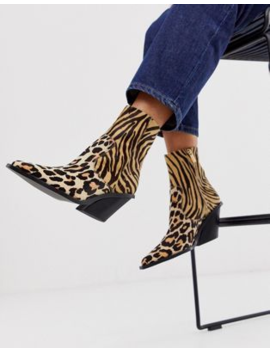 Asos Design Rory Premium Leather Western Boots In Animal Mix by Asos Design