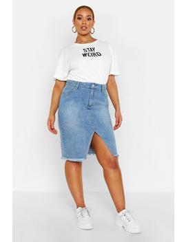 Plus Denim Midi Skirt by Boohoo