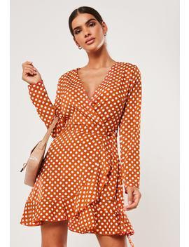 Petite Rust Polka Dot Tea Dress by Missguided