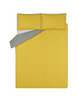 Yellow Geometric Squares Easy Care Duvet Set by Asda