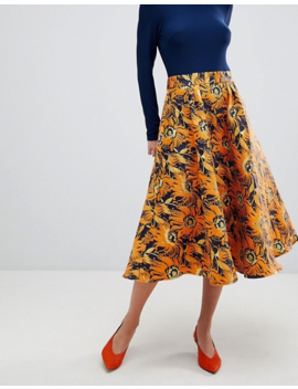 Traffic People Midi Dress With Contrast Printed Skirt by Midi Dress